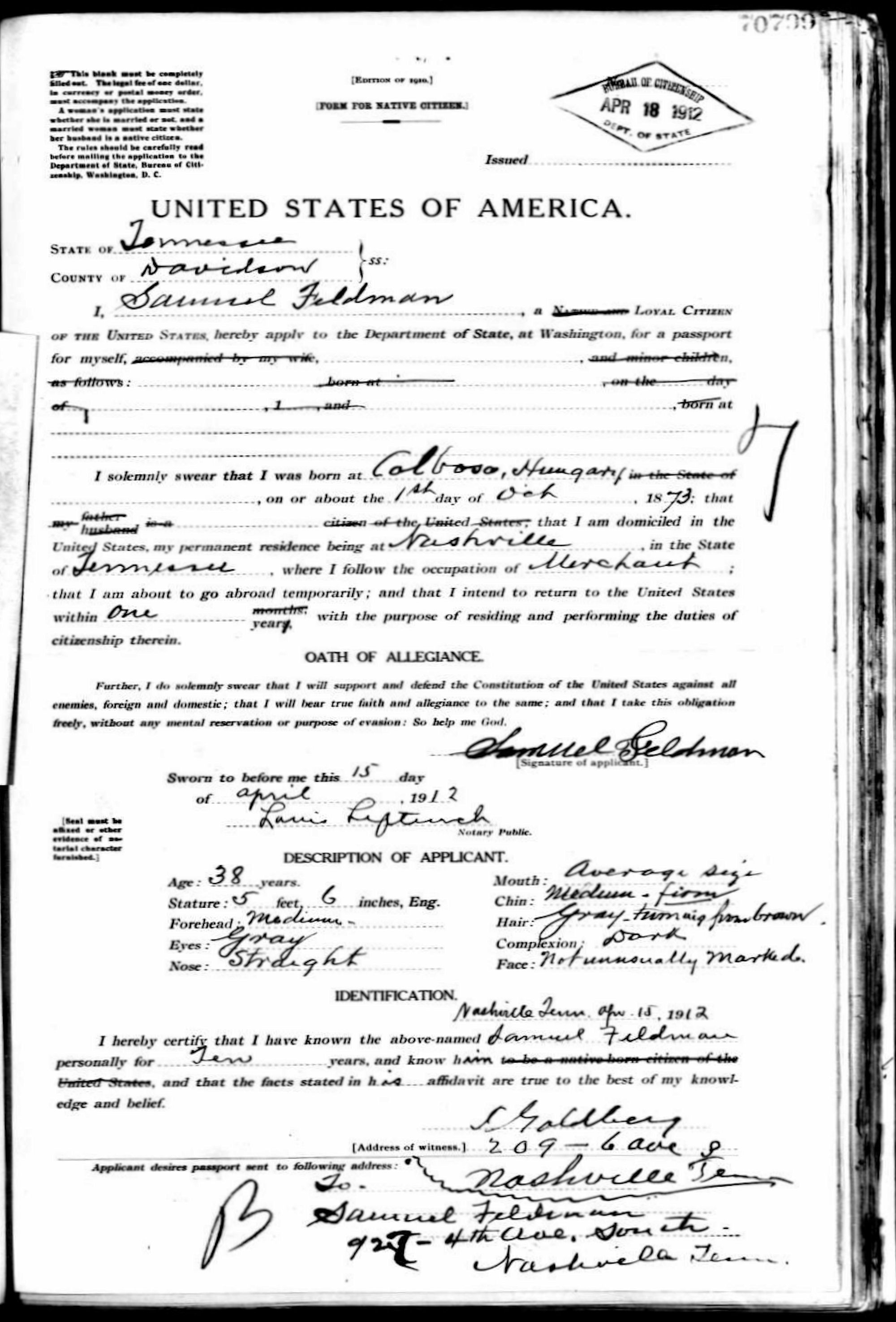 American usa passport records 1912 us passport application samuel feldman us citizen born kolbasov sk formerly hungary aiddatafo Gallery